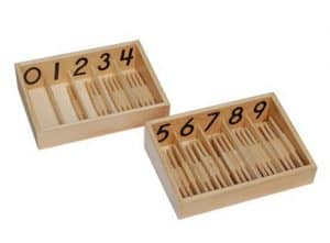 Popsicle stick math activities as spindle box