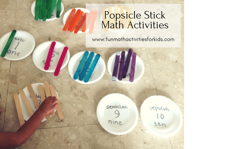 Counting to 10 with popsicle sticks