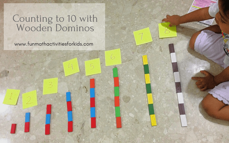 Counting to 10 with wooden dominos