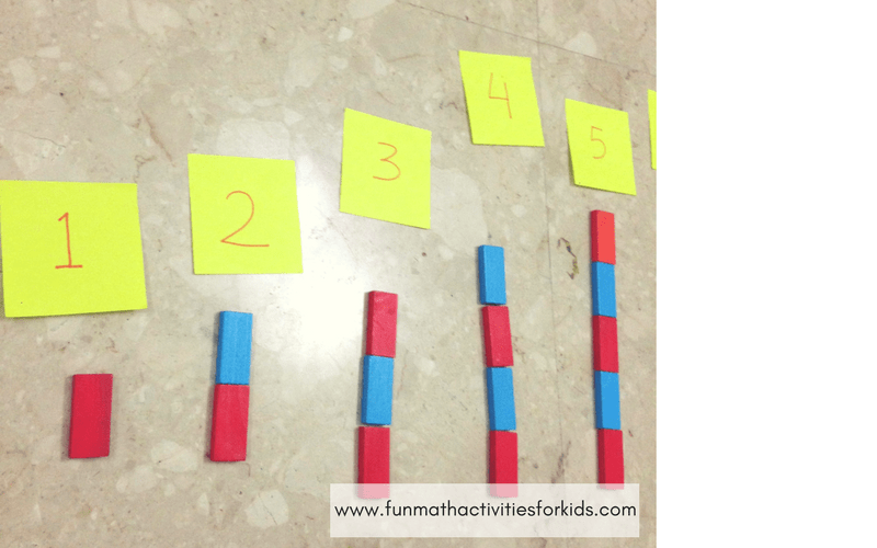 Counting with alternating colored wooden blocks