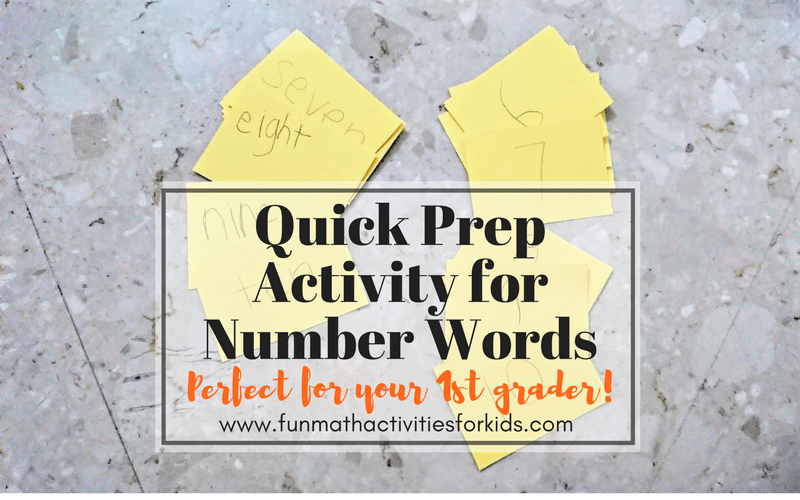 Math activities 1st grade number words with quick prep