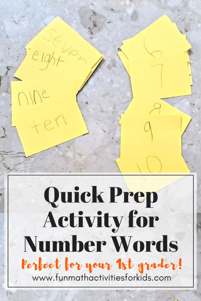 Quick Prep Activity for Number Words